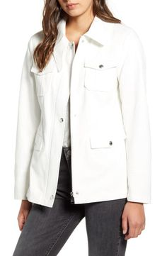 This field jacket combines fashion and function with a slim fit, plenty of pockets and a denim construction-perfect for adding a relaxed touch to any outfit. Style Name:Sam Edelman Denim Field Jacket. Style Number: Available in stores. Lab Coats For Men, Long Sleeve Evening Dresses, Striped Bikini, Field Jacket, Ribbed Sweater, Jackets Online, Nordstrom, Washed Denim, Clothes For Women