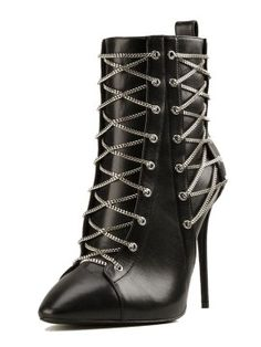 Black Cross Chain Embellished Ponit Heeled Ankle Boots