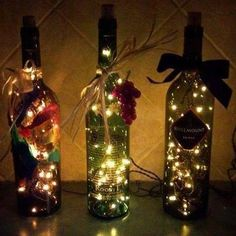 How to Make a Wine Bottle Light-Love these so making some! :-) Britt these are what they should end up looking like