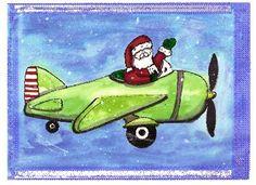 watercolor santa and plane card - k schmiedeskamp