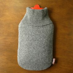 cozy cashmere hot water bottle cover in charcoal grey