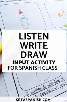Listen, Write, Draw – SRTA Spanish Listen, Write, Draw is a great world language class activity because it uses listening Middle School Spanish, Elementary Spanish, Spanish Classroom, Spanish Activities, Class Activities, Language Activities, Listening Activities, Spanish Language Learning, Teaching Spanish