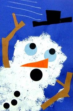"""Snowman activities: Artsonia Art Museum : Artwork by Zachary This is called """"Wind-blown snowman.""""  Students could make one of their own with a mini sponge square.  On the back, have students write a windy winter story."""