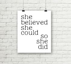 Printable Wall Art She Believed She Could So by justprintablesxoxo