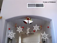 House of Whimsy: Christmas Decorating 2011 idea for main hallway arch. Christmas Stairs, Christmas Room, Simple Christmas, Christmas Ceiling Decorations, Christmas Centerpieces, Halloween, House, Holiday Decorating, Decorating Ideas