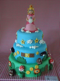 Princess Peach Cake... the princess is a little scary but the rest is awesome.