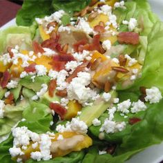 Avocado-Mango Salad with Cheese, Bacon & Toasted Pumpkin Seeds
