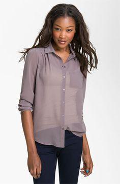 Frenchi® Sheer Chiffon Shirt (Juniors)   Nordstrom