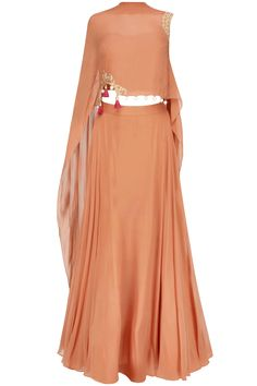 Iced coffee color floral cutwork one sleeve cape and orange skirt set available only at Pernia's Pop Up Shop.
