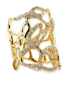 Drizzle Wide Gold Diamond Cutout Ring by Ippolita at Neiman Marcus.