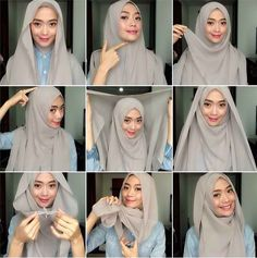 Hijab tutorial ♥ It looks so intricate but I love it. Tutorial Hijab Pashmina, Square Hijab Tutorial, Hijab Style Tutorial, Scarf Tutorial, Easy Hijab Tutorial, Islamic Fashion, Muslim Fashion, Hijab Fashion, Fashion Outfits