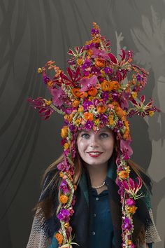 RHS Chelsea Flower Show 2016 | RHS Young Chelsea Florist of the Year Competition | Flowerona - Pictured : Winner, Kay Willis from Fairmile Florist in Christchurch wearing her headdress!