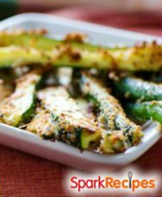 Easy Zucchini Parmesan: Only 52 calories in the entire recipe! I really love this recipe and have been making it all season. I'm not joking when I say that this is my new substitute for potato chips! | via @SparkPeople #food #snack #side #summer #healthy
