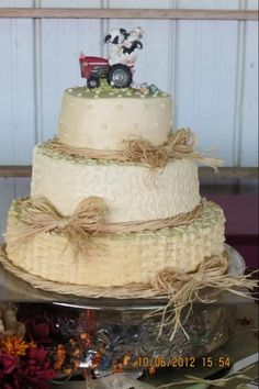 Country wedding cake  I like this... w/o the Tractor on top.