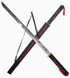 This beautiful BLACK AND RED CORD RAPPED NINJA SWORD is well made with solid brass pomel and hilt handle. Description from bull42.com. I searched for this on bing.com/images