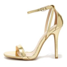 Glam Squad Gold Ankle Strap Heels ($22) ❤ liked on Polyvore featuring shoes, sandals, heels, sapatos, gold, stilettos shoes, ankle strap sandals, criss-cross sandals, ankle strap heel sandals and high heel shoes