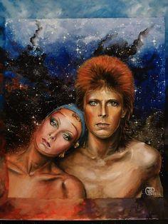 David Bowie and Twiggy art