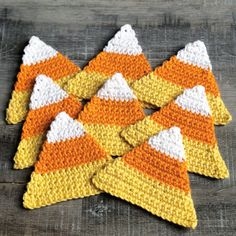 crochet candy corn coasters