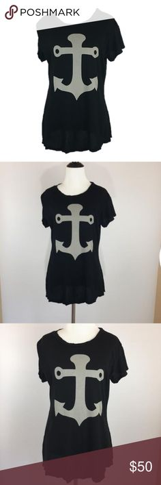 NWOT Wildfox Anchor Black T-shirt NWOT Wildfox Anchor T-shirt. Black with Gray Anchor. Super flattering cut. The T-shirt is very loose at the bottom, so it looks great with jeans or shorts!   100% Cotton Wildfox Tops Tees - Short Sleeve