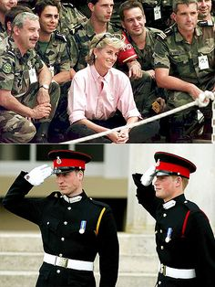 "THEN: Two weeks before her death, Diana posed with French soldiers serving in the NATO-led peace force at the Sarajevo airport. ""Everyone is loving her,"" said Captain Jean-Luc Baldillou at the time. ""It was very good of her. The men really enjoyed it.""   NOW: With Harry leading the charge, the brothers entered Sandhurst Royal Military Academy."
