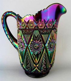 *IMPERIAL GLASS ~ Diamond Lace, Purple Carnival Glass Pitcher