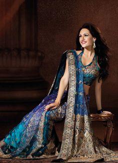 Pretty Shaded Blue Net Saree