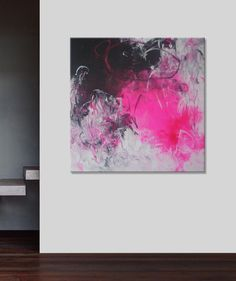 Large Abstract Painting Original pink acrylic Painting -give her your world-Contemporary  40x40 Elena