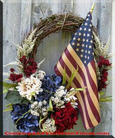 Do you love this wreath? Create it yourself with little time or money. This is made from a small/medium grape vine wreath purchased at your local craft store. You will need a small American flag an…