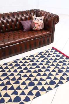 Wavy Triangle 3x5 Rug in Navy at Urban Outfitters