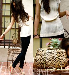 Shenae Grimes Wears Chiffon Top, Skinny Jeans, Beige Christian Louboutins and a Leopard Clutch