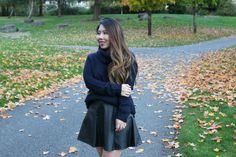 Cowl Neck Knit Sweater and Faux Leather Skirt