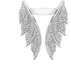 Pavé Open Feather Ring ❤ liked on Polyvore featuring jewelry, rings, 18k jewelry, 18k white gold ring, pave ring, 18k ring and pave jewelry