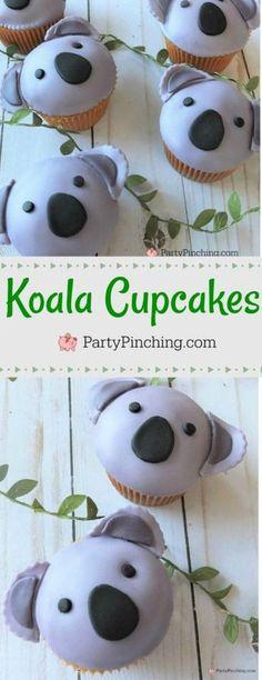Koala Cupcakes, cute easy to make koala cupcake recipe, best koala bear cupcakes, best Australia Day party celebration food ideas Minion Cupcakes, School Cupcakes, Bear Cupcakes, Animal Cupcakes, Cute Cupcakes, Birthday Cupcakes, Geek Birthday, Themed Cupcakes, Cupcake Tier