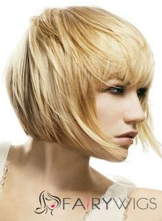 Concise Short Straight Blonde Real Human Hair Wigs 10 Inch