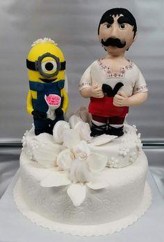 Wedding cake by Sunny Dream Curious George Cakes, Cocktail Cake, Minions, Minion Cakes, Cake Art, Pottery Art, Cake Decorating, Wedding Cakes, Groom