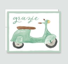 Vespa Grazie Thank You Notes Italian Thank You by LeveretPaperie