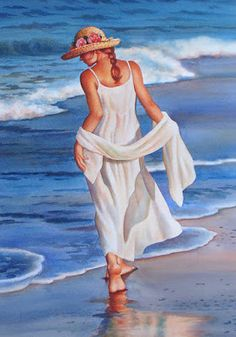 Vonnie Whitworth - Virginia Artist of Realistic Watercolor Paintings Painting People, Woman Painting, Beach Art, Pictures To Paint, Painting Inspiration, Cool Drawings, Female Art, Landscape Paintings, Watercolor Paintings