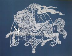 Papercut Template, Pattern Commercial Use Rosie The Carousel Horse .pdf Digital…