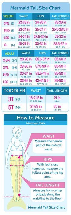 Mermaid Tail, Swimsuit, Appeal Size Charts | Fin Fun Mermaid