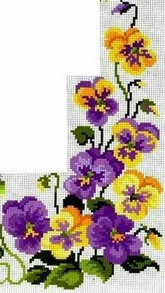 Hang on to Summer with these Pretty Purple Violets to Stitch Mini Cross Stitch, Cross Stitch Borders, Cross Stitch Rose, Cross Stitch Flowers, Cross Stitch Designs, Cross Stitching, Cross Stitch Embroidery, Embroidery Patterns, Cross Stitch Patterns