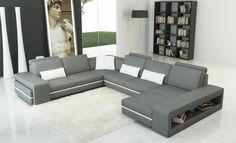 VGEV5070-Divani Casa 5070 Modern Grey and White Leather Sectional SofaFinishing:Grey and White LeatherDimensions:3 Seater: W71