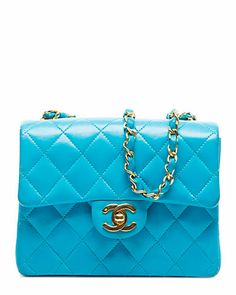 Chanel Turquoise Quilted Lambskin Mini Single Flap Bag