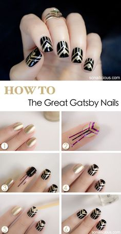 Nail Tutorials - NYE, Gatsby, Art Deco, Speakeasy, Prohibition, Moonshine, Burlesque, Gangster, Cotton Club, Casino or Harlem Nights/Renaissance, Havana Nights theme | 1920's