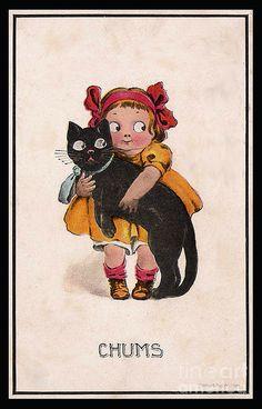 Black Cat Digital Art | Chums Kitch Girl With Her Black Cat Friend Digital Art
