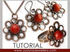 Wire Jewelry Tutorial, Wire Ring Tutorial, Wrapping Tutorial, Jewelry Instructions, Flower Ring Tutorial, Pendant and Earrings Tutorial