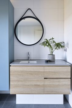 With its sweeping ocean views from almost every room, this home makes the utmost of its cliffside seaside location in Mount Martha, on Victoria's Mornington Peninsula. Timber Vanity, Glass Room, Geometric Wallpaper, Bathroom Renos, Key Design, Walk In Pantry, Pendant Lighting, Jasmine, Interior