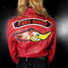 Red real leather biker jacket with leather patches on the back. Biker, Motorcycle Jacket, Real Leather, Vintage Shops, Leather Jacket, Red, Jackets, Studded Leather Jacket, Down Jackets