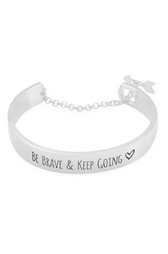 **Be Brave and Keep Going Bracelet- Silver Toned
