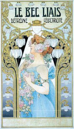 1904 poster Le bec Liais dethrone l'electricite by Henri Privat-Livemont Art Nouveau Mucha, Alphonse Mucha Art, Art Nouveau Poster, Art Nouveau Design, Art And Illustration, Illustrations Posters, Pub Vintage, Vintage Art, Retro Poster
