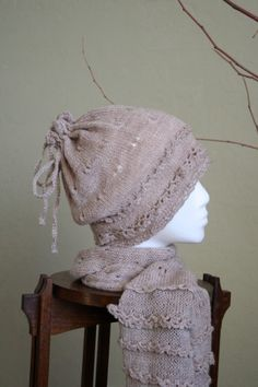 Sand Prints Scarf and hat  Combination of Knitting and by DanDoh, $6.50